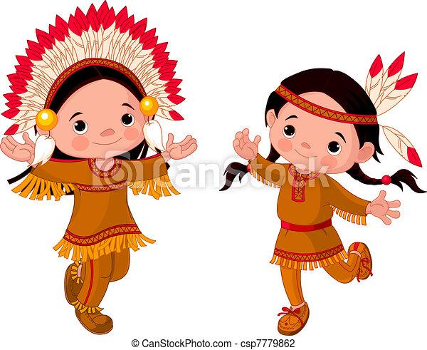 American Indians dancing  - csp7779862