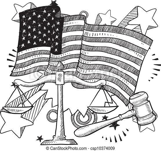 American justice sketch - csp10374009