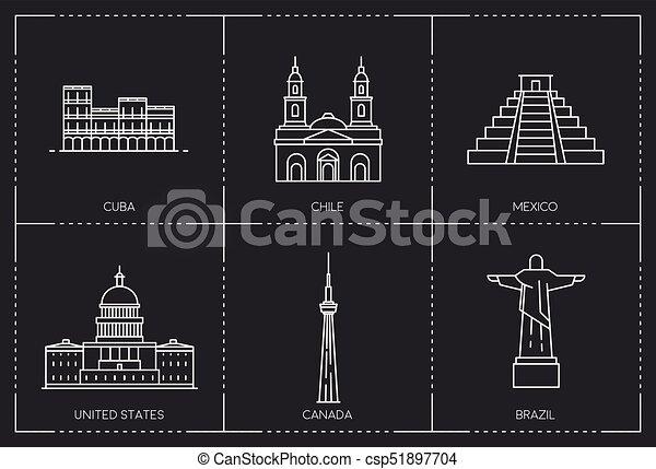 Line Art Illustration Style : American landmarks. line style illustration. the collection