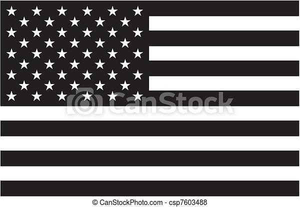 american lobogó, fekete, fehér - csp7603488