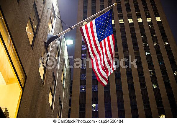 american lobogó, felhőkarcoló, háttér - csp34520484