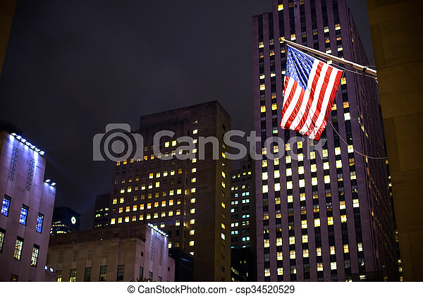 american lobogó, felhőkarcoló, háttér - csp34520529