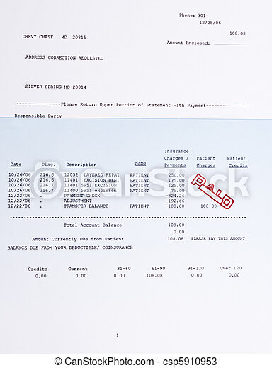 American Medical Bill Mole Procedure Stamped Paid - csp5910953