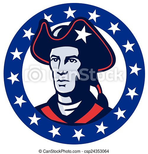 american minuteman head vector illustration of an american patriot rh canstockphoto com Minuteman Drawing Minuteman Drawing