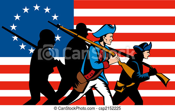 illustration of american minutemen march behind a betsy ross flag rh canstockphoto com Minuteman Stencil Continental Soldier Clip Art