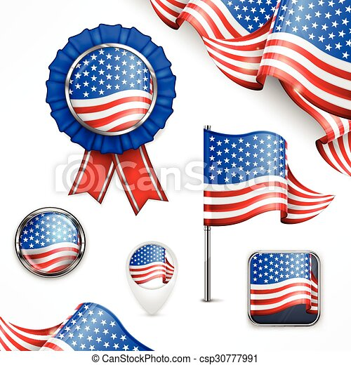 American National Symbols Flag Banner Badge And Icon On White