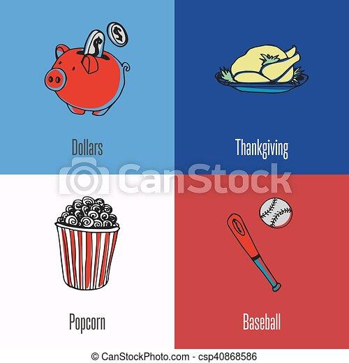 American National Symbols Vector Icons Set American Vector