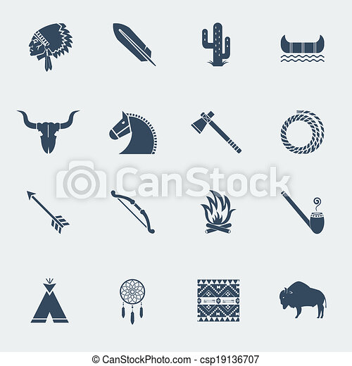 American native indians icons isoated - csp19136707