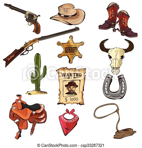 American Old Western Icons - csp33287321