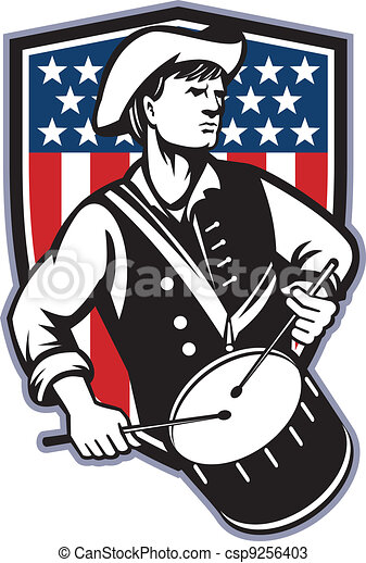 American Patriot Drummer With Flag - csp9256403