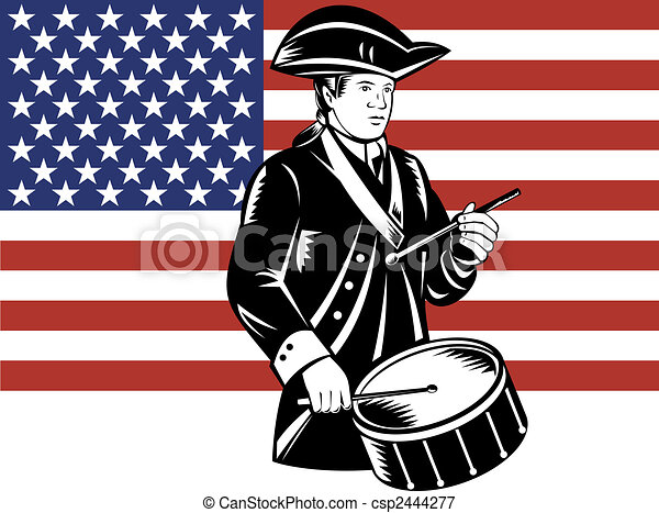 American patriot drummer with flag - csp2444277