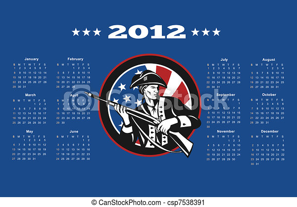 American Patriot Flag Poster Calendar 2012 - csp7538391