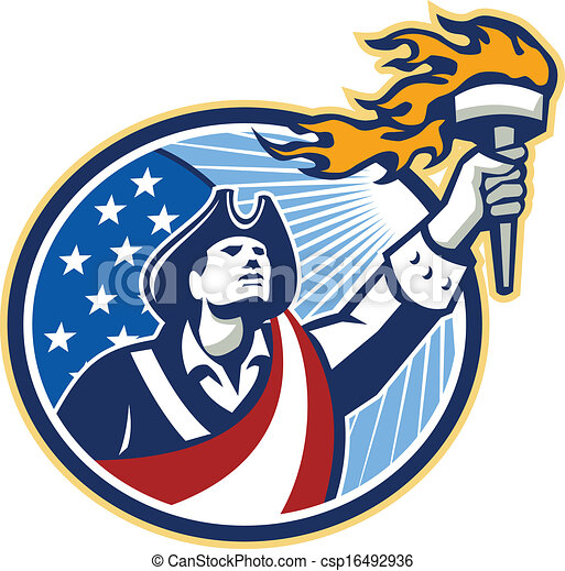 American Patriot Holding Torch Stars Stripes Flag - csp16492936