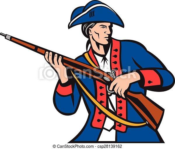 American Patriot Militia Musket Retro - csp28139162