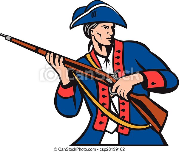 american patriot militia musket retro illustration of an american rh canstockphoto com patriotic clipart patriotic clipart free