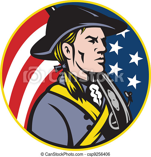 American Patriot Minuteman With Flag - csp9256406