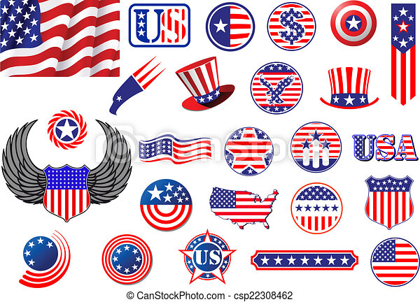 american patriotic badges  symbols and labels decorated Free Clip Art American Flag Banner American Flag Banner Clip Art