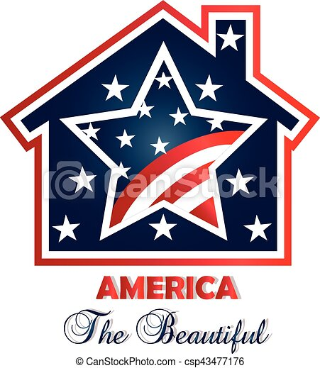 American patriotic house logo - csp43477176
