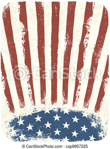 American patriotic poster background. Vintage style poster template, Vector, EPS10 - csp9957225