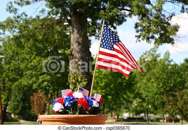 American Patriotism - Flag and Tree 1 - csp0365670