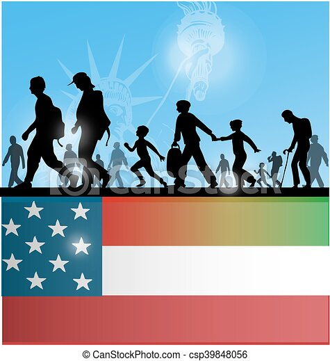 american people immigration background with flag