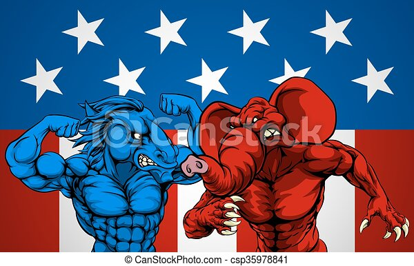 American Politics Elephant Donkey Fight - csp35978841