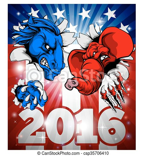 American Politics Fight 2016 Concept - csp35706410