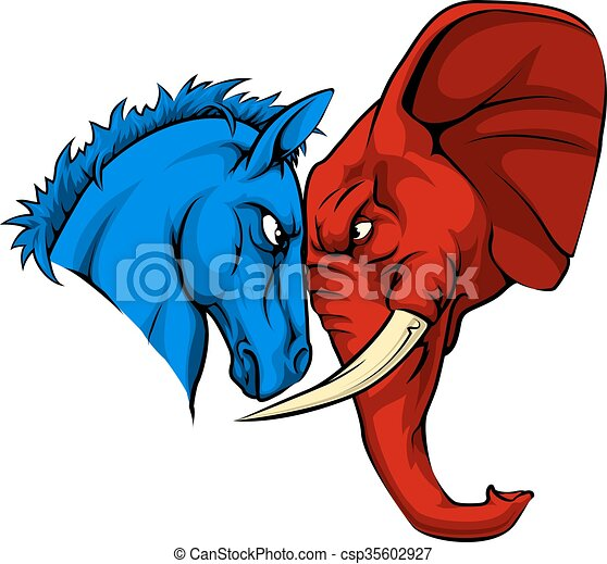 American Politics Republican Versus Democrat - csp35602927