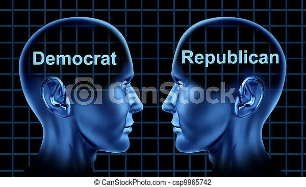 American Politics With Democrat and Republican People - csp9965742