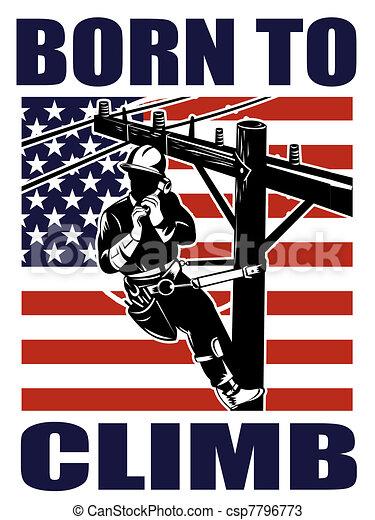 American power lineman electrician repairman retro - csp7796773