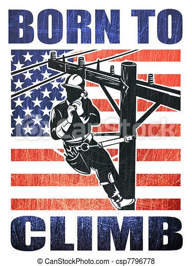 American power lineman electrician repairman retro - csp7796778