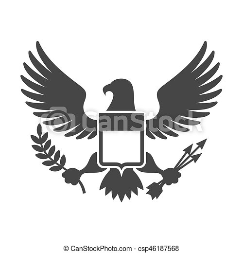 American Presidential Symbol Eagle With Shield Logo Vector