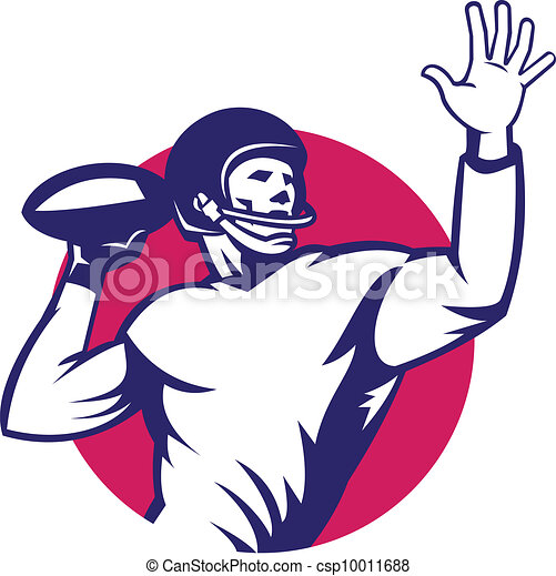 american quarterback football player pass illustration of vector rh canstockphoto com