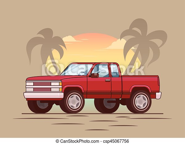American Red Modern Pickup Truck Concept
