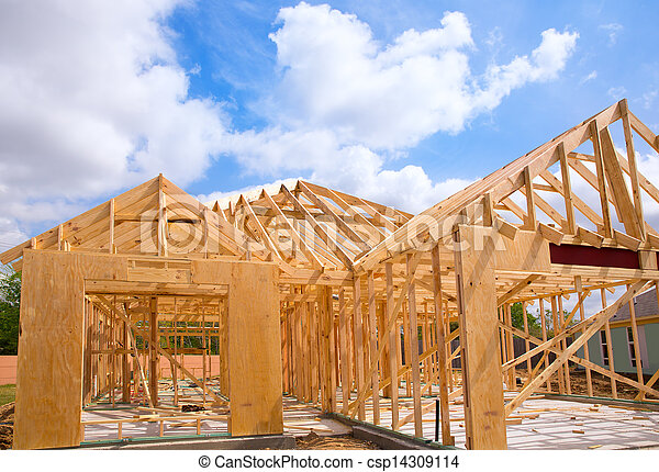 American residential wooden house contruction - csp14309114