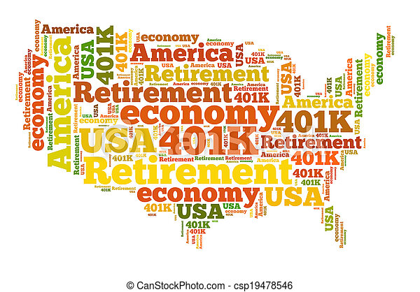 American retirement plan concept with word cloud - csp19478546