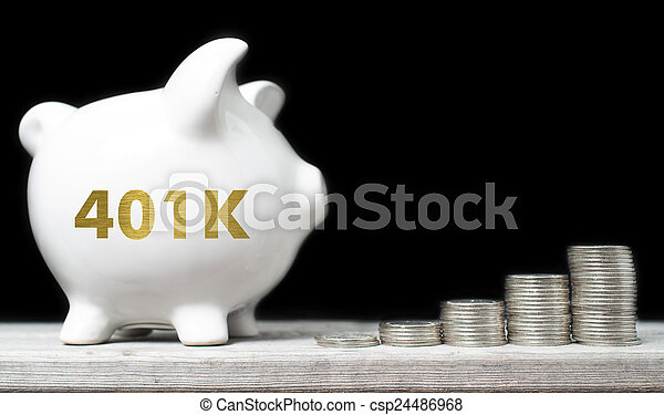 American retirement savings concept with piggy bank and coins ag - csp24486968