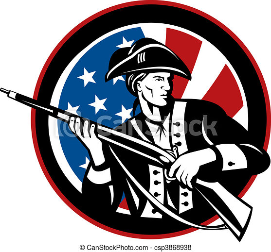American revolutionary soldier with rifle and flag in background set inside a circle - csp3868938