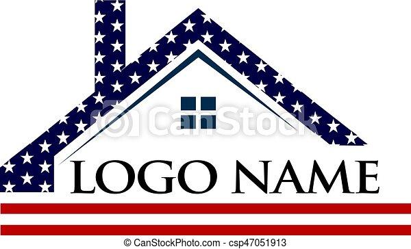 American Roof Construction Logo Illustration - csp47051913
