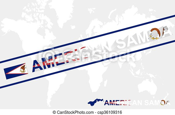 American Samoa Map Flag And Text Illustration On World Map Vector - Samoa map vector
