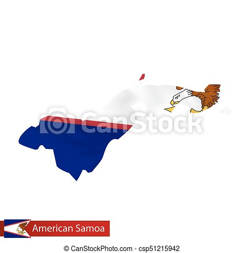 American Samoa Map With Waving Flag Of Country Vector Eps - Samoa map vector