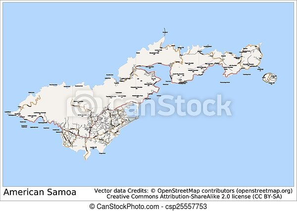 American Samoa Pacific Island Map Aerial View Clipart Vector - Samoa map vector