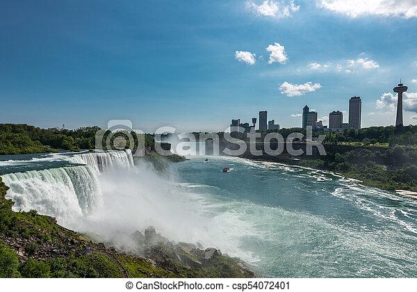 American Side Of Niagara Falls Waterfall Landscape New York Usa
