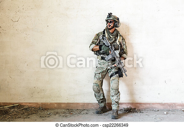 american soldier guarding during military operation - csp22266349