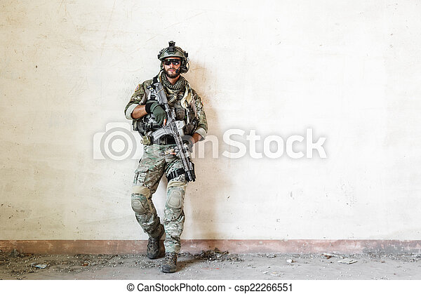 american soldier poses during military operation - csp22266551