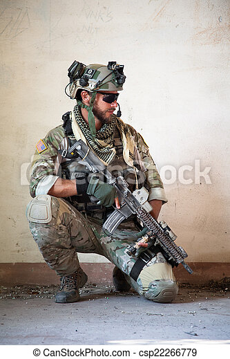 american soldier resting from military operation - csp22266779
