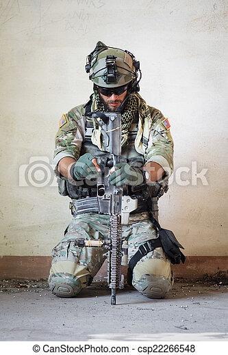 american soldier resting from military operation - csp22266548