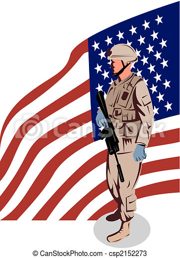 American soldier standing alongside American flag - csp2152273