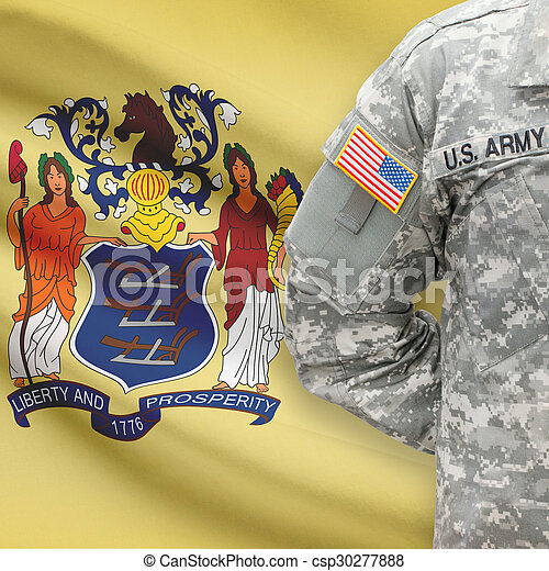 American soldier with US state flag on background - New Jersey - csp30277888