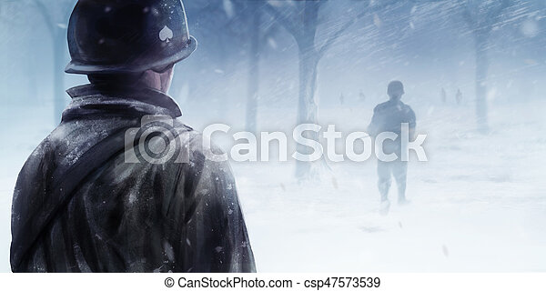 American soldiers in winter forest. - csp47573539